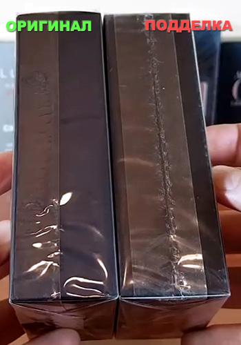 Неровный шов пленки на упаковке духов - подделка